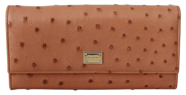 Brown Ostrich Skin Leather Continental Clutch Wallet