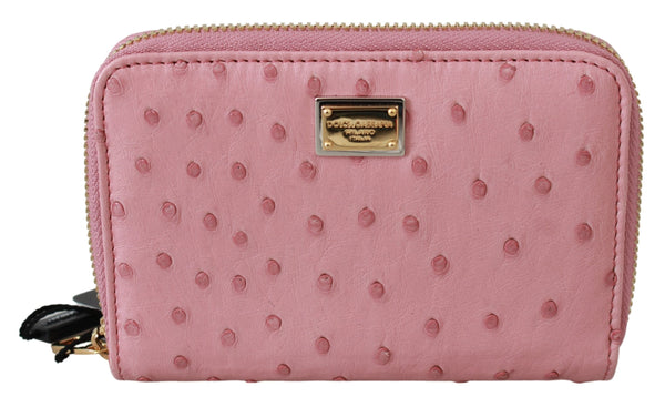 Pink Ostrich Skin Leather Full Zipper Clutch Wallet