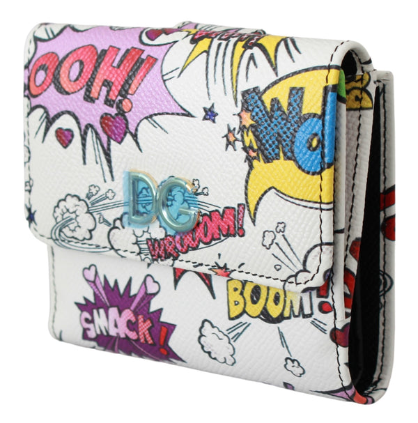 White Cartoon Print French Flap Clutch Leather Wallet