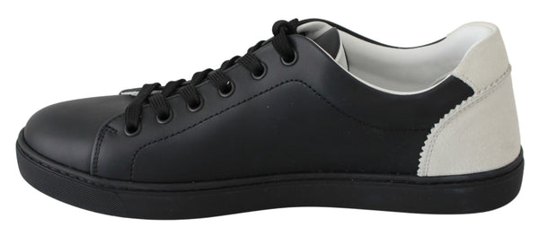Black Leather Low Top Sneakers Shoes