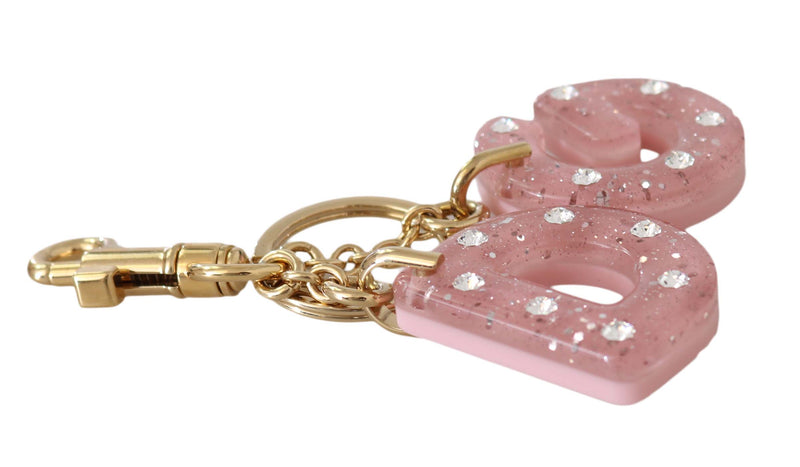 Pink DG Logo Clear Crystal Gold Brass Keychain