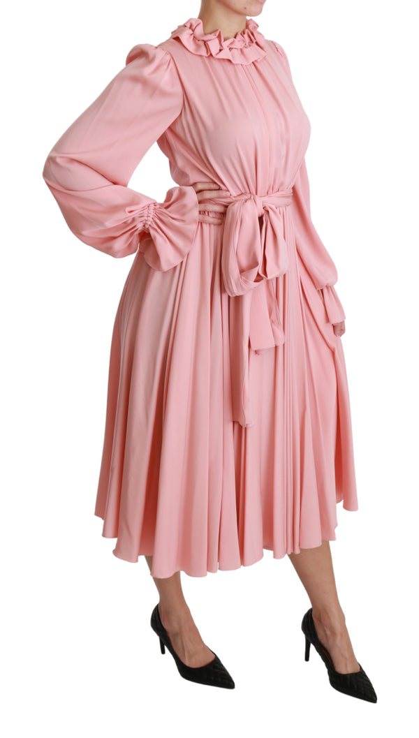 Silk Stretch Pink Pleated A-line Midi Dress