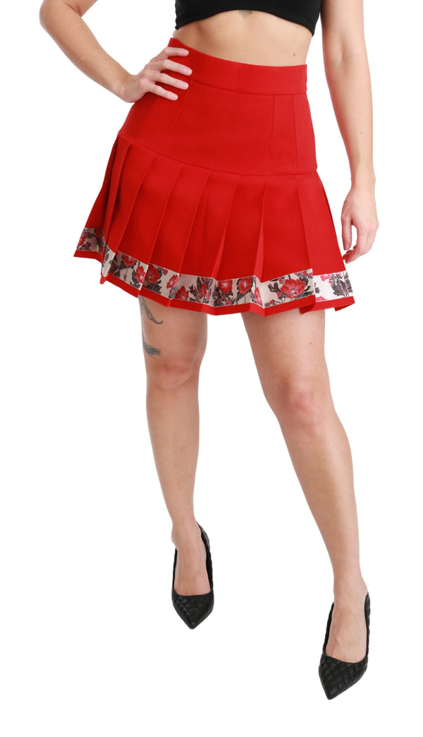 Red Wool High Waist Pleated Floral Skirt