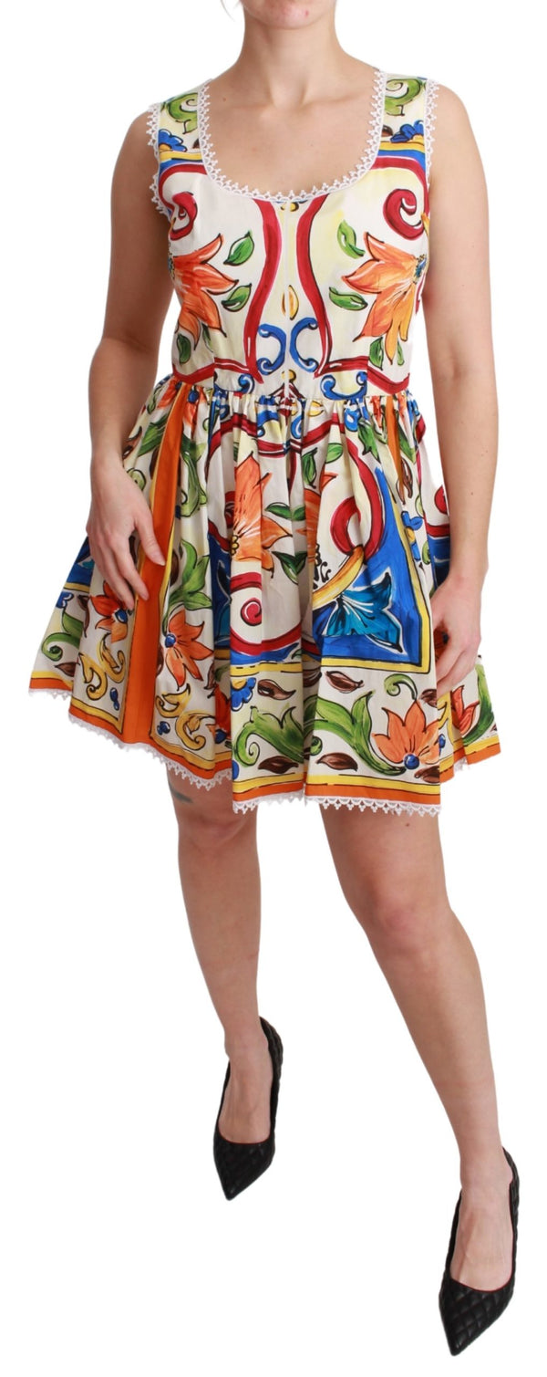 White Cotton Majolica Sheath A-line Mini Dress