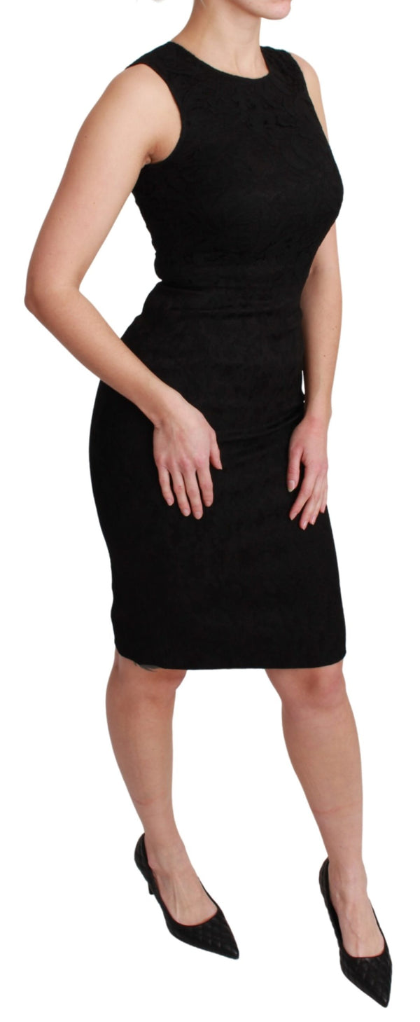Black Sleeveless Bodycon Knee Length Dress