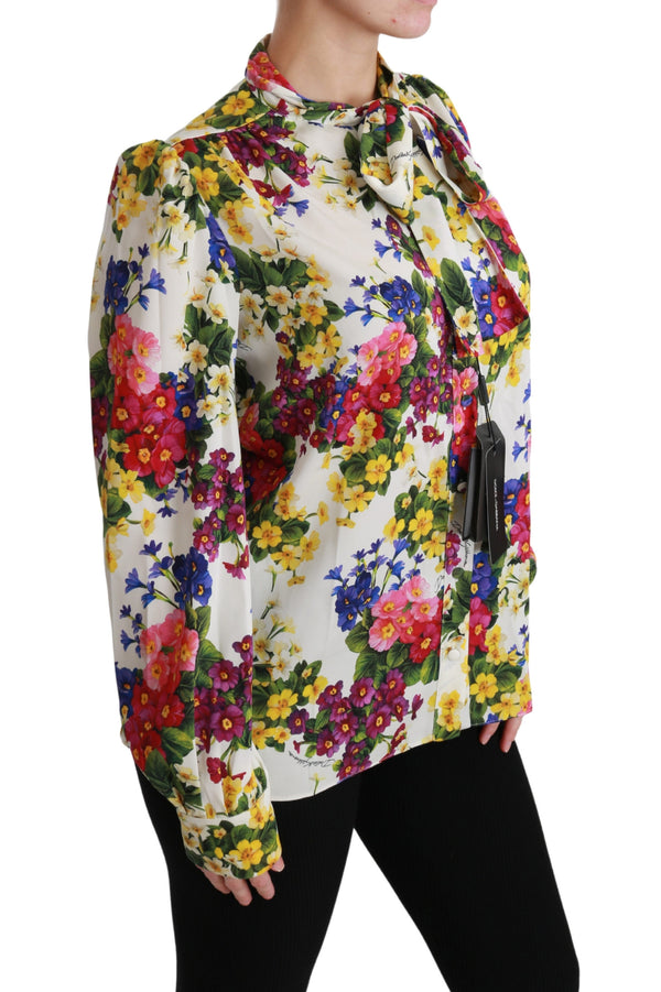 Multicolor Floral Long Sleeve Blouse Silk Top