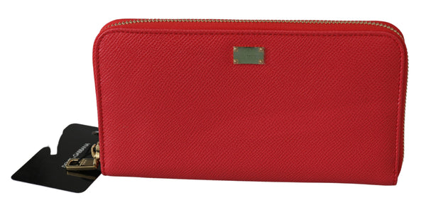 Red Zipper Continental Clutch Card Bill Leather  Wallet