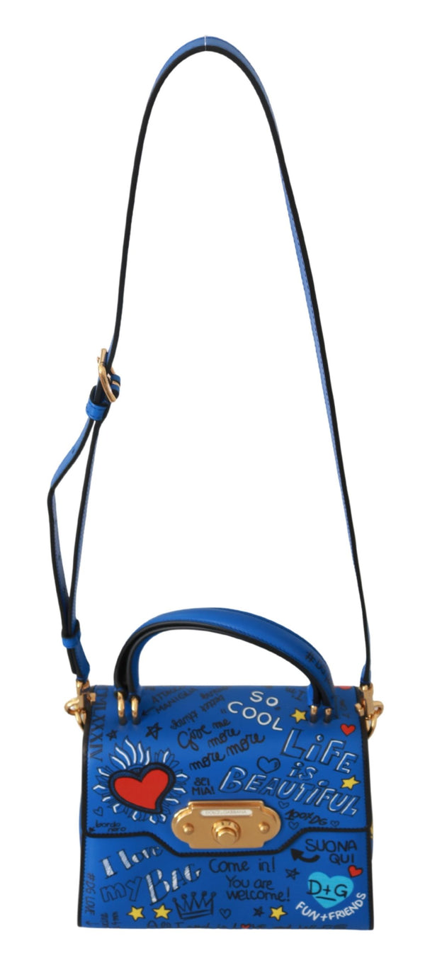 Blue Leather DG Crown Crossbody WELCOME Purse Bag