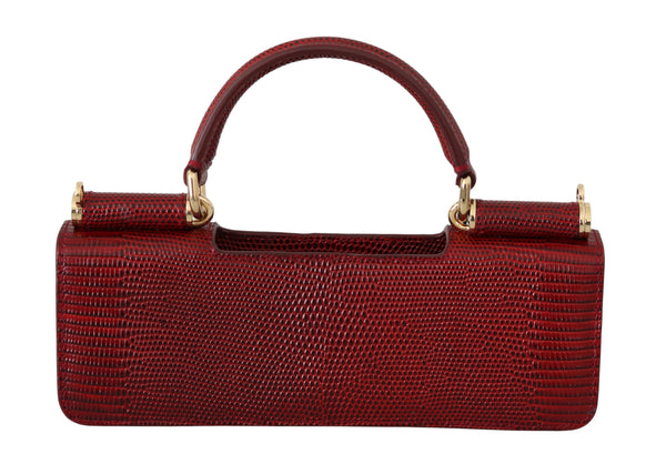 Red Leather Push Button Accessory Micro Bag