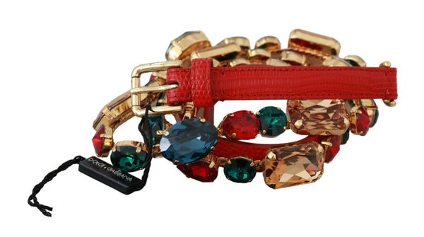 Red Leather Multicolor Crystals Waist Belt