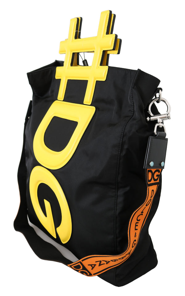 Black Yellow #DG Men Shoulder Strap Shopping Tote Bag