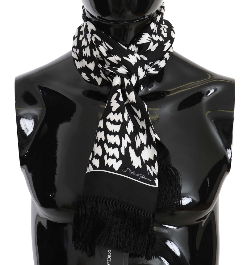 Black & White Printed Silk Mens Scarf