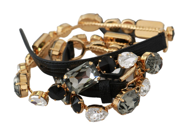 Black Gold Multicolor Crystals Waist Belt