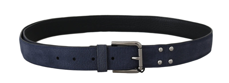 Blue Deerskin Leather Silver Logo Buckle Belt