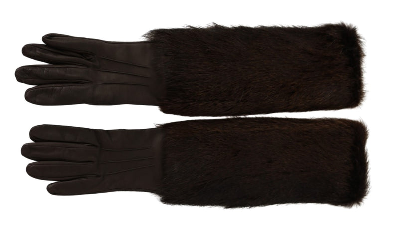 Brown Elbow Length Mittens Leather Fur Gloves