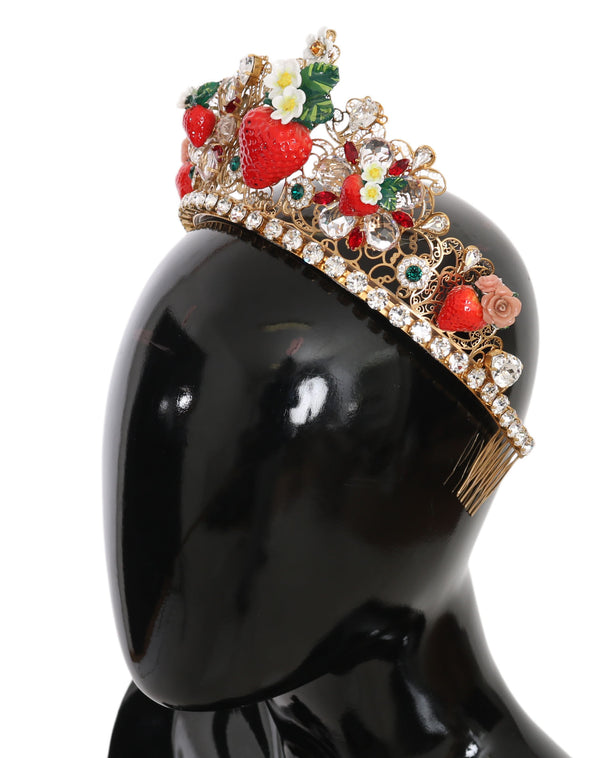 Gold Crystal Floral Red Strawberry Flower Crown