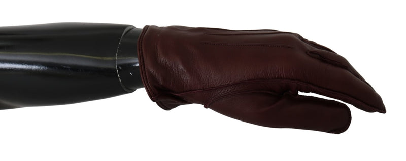 Maroon Wrist Length Mitten Leather Gloves