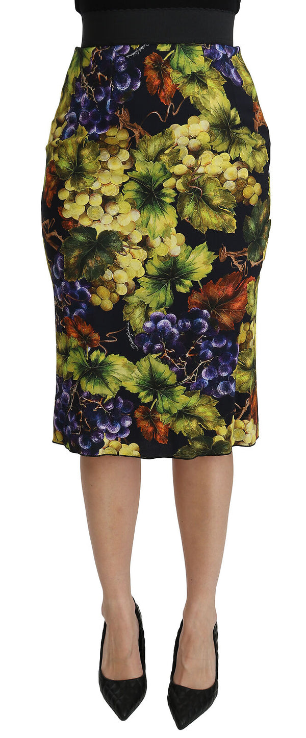 Multicolor Grapes Stretch Midi Skirt