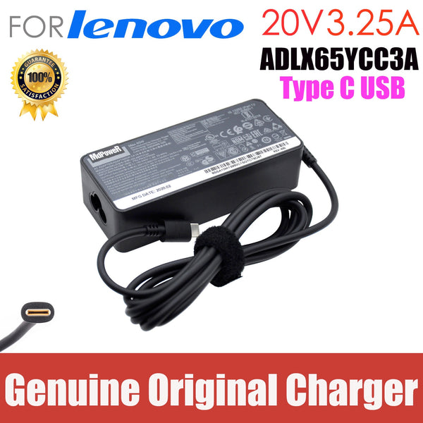 Original 65W 20V 3.25A TypeC AC Adapter Laptop Charger for Lenovo ThinkPad X280 X380 X390 X395 L580 ADLX65YLC3A ADLX65YCC3D