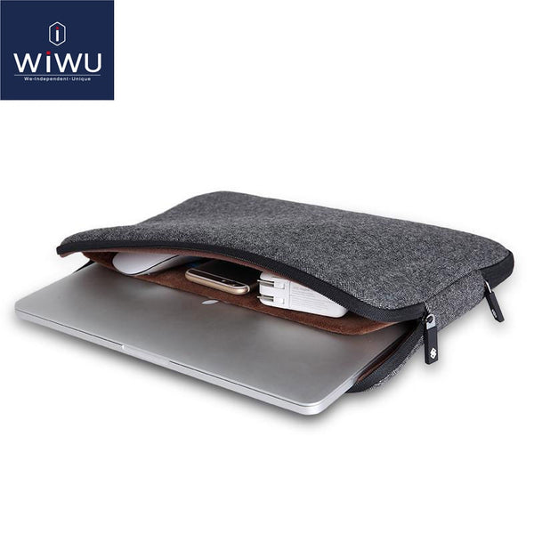 WIWU 2020 Laptop Sleeve 15.6 inch Soft Felt Shockproof Laptop Case for MacBook 11 12 Inner Pocket Bags 15.6 Tablet Bag 11.6
