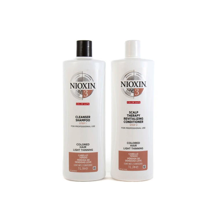 Nioxin System 3 Cleanser Shampoo And Scalp Revitaliser Conditioner 1000ml Duo