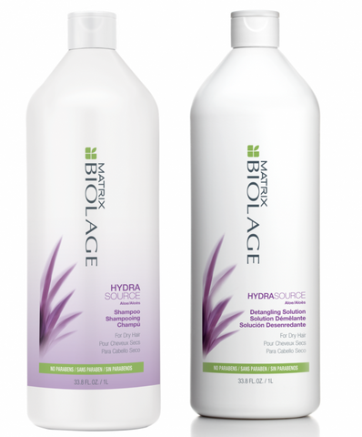 Matrix Biolage Hydrasource Shampoo And Detangling Solution 1l Duo Pack
