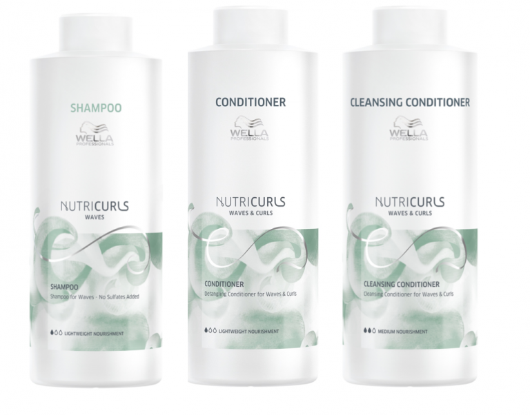 Wella Nutricurls Waves 1000ml Trio, Shampoo, Detangling Conditioner And Cleansing Conditioner