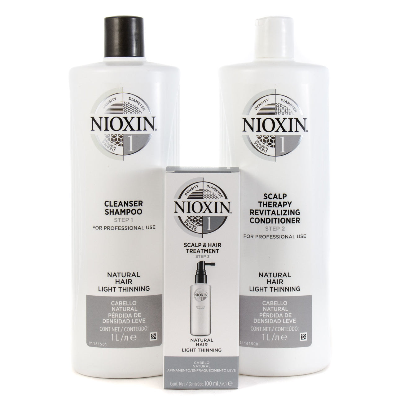 Nioxin System 1 Cleanser Shampoo And Scalp Revitaliser Conditioner 1000ml Plus Treatment