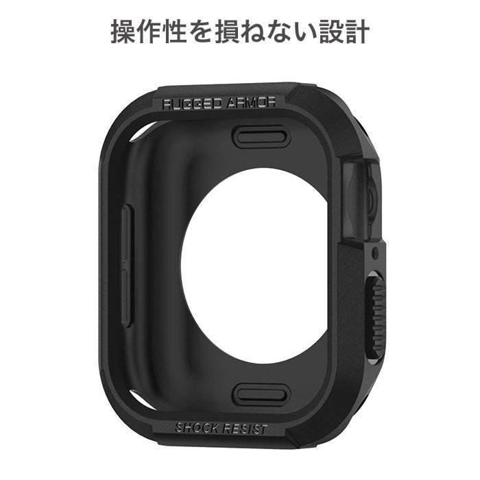 [Apple Watch Series SE/6/5/4 (44mm)専用]Spigen Rugged Armor ケース(ブラック)
