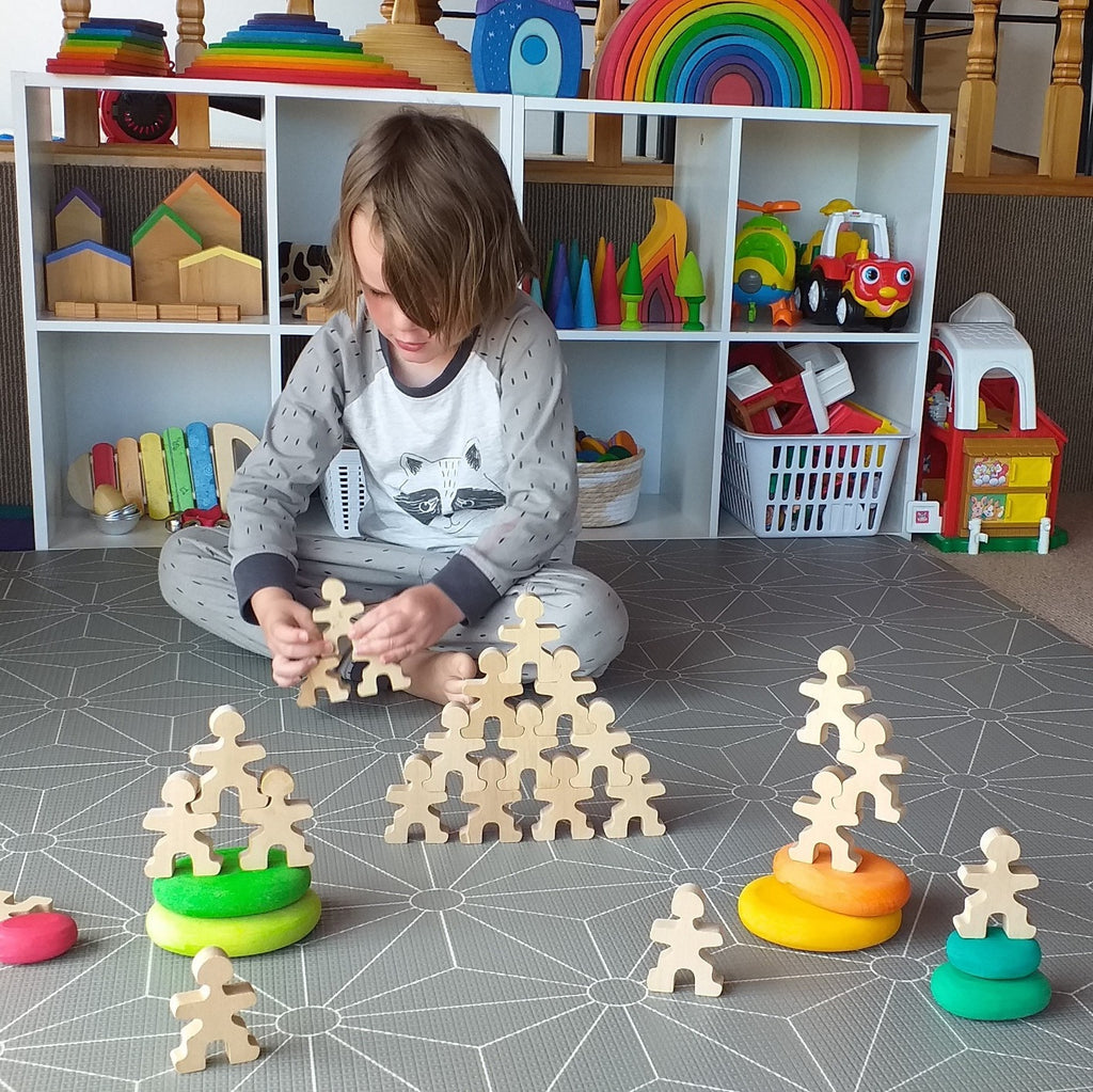 Child playing with Flockmen
