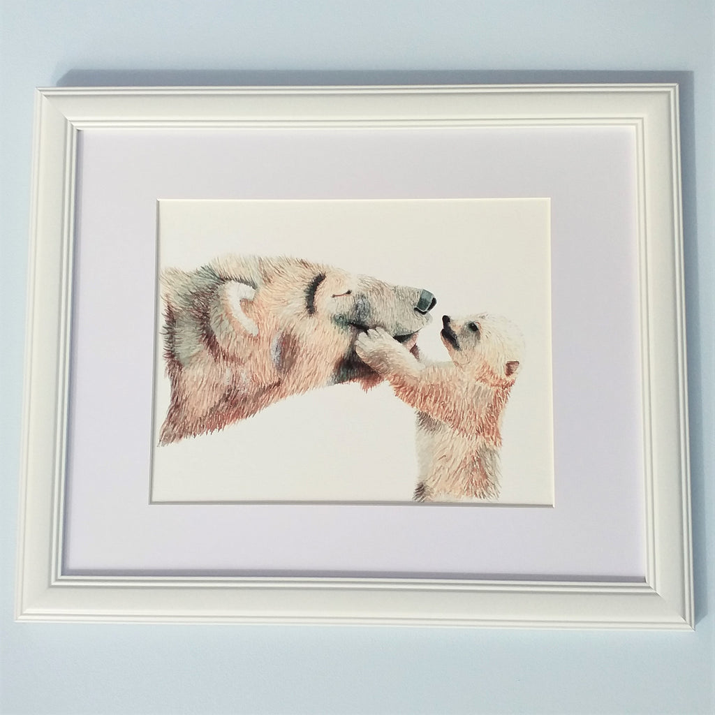 Mother and baby bears framed watercolour art print