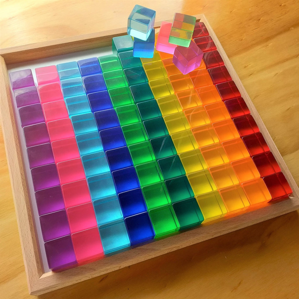 Bauspiel lucite cubes set of 100 in tray