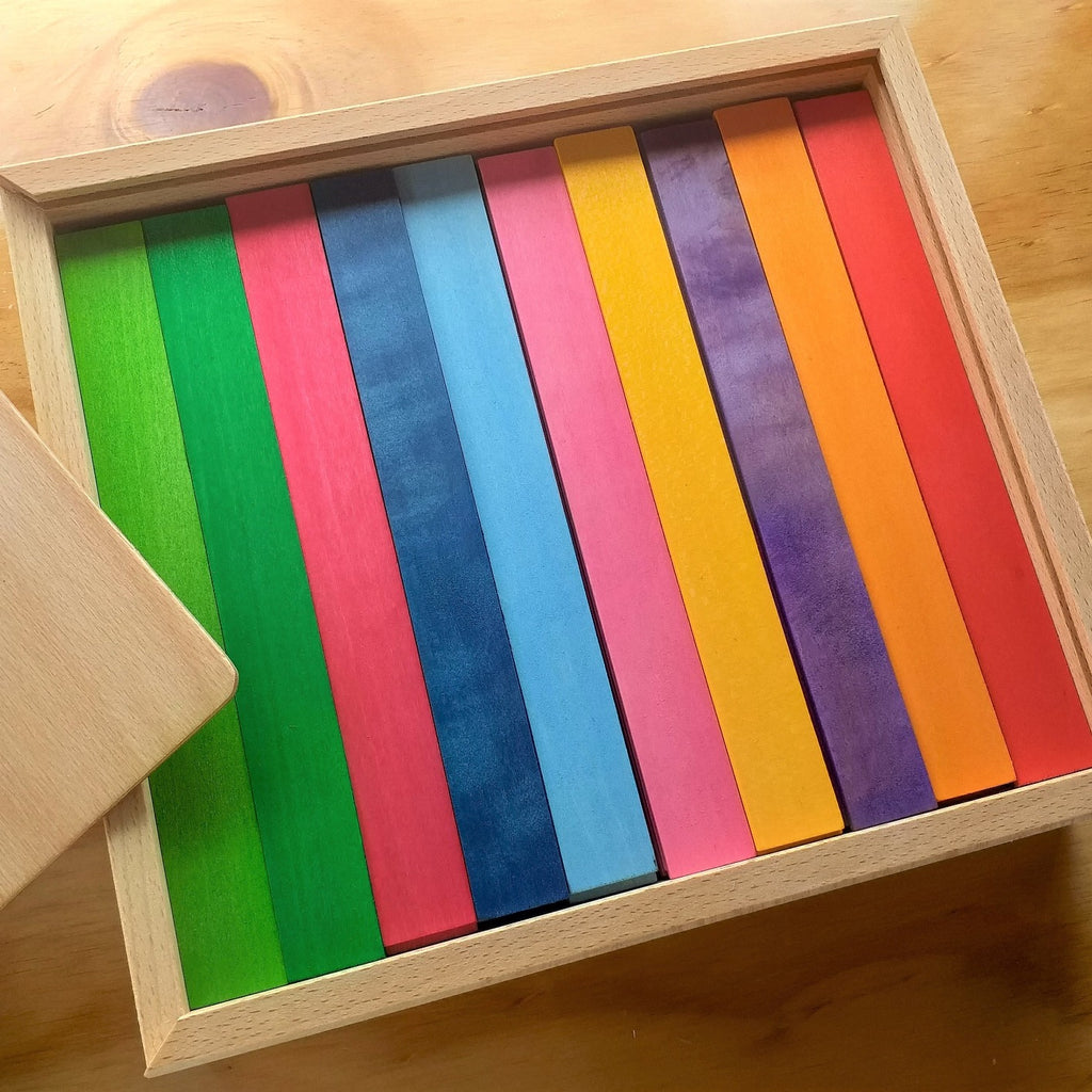 Bauspiel coloured rods in open box