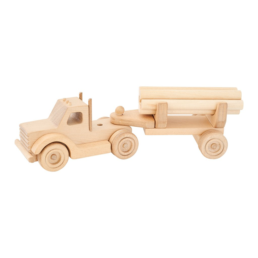 Kubi Dubi wooden truck set with logging trailer
