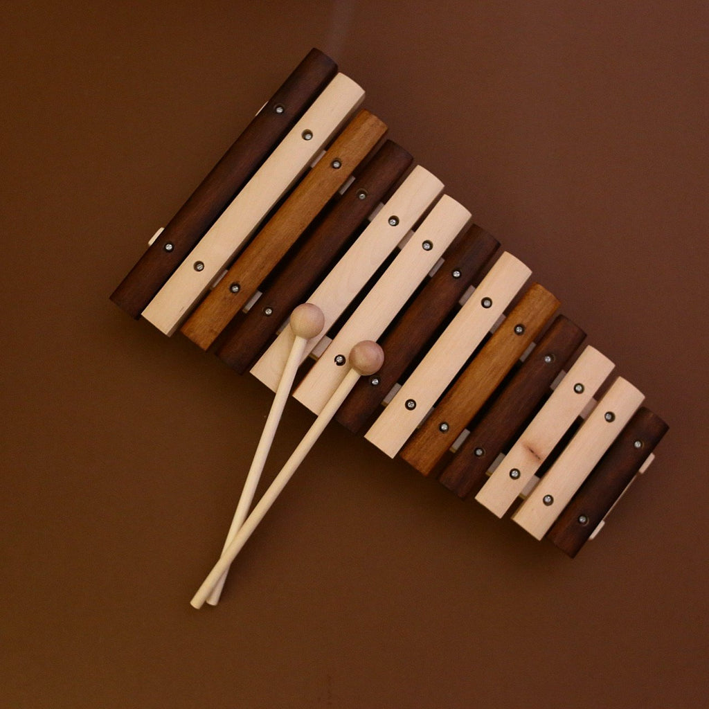 Multi toned stained wooden xylophone