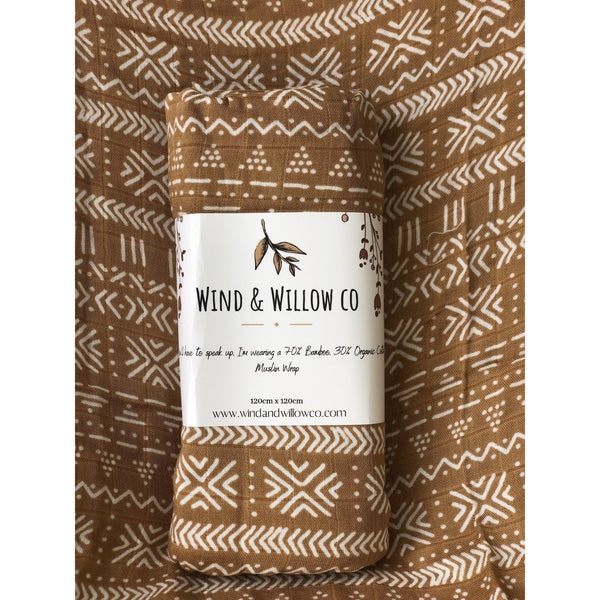 Organic Cotton & Bamboo Swaddle - Owl Brown
