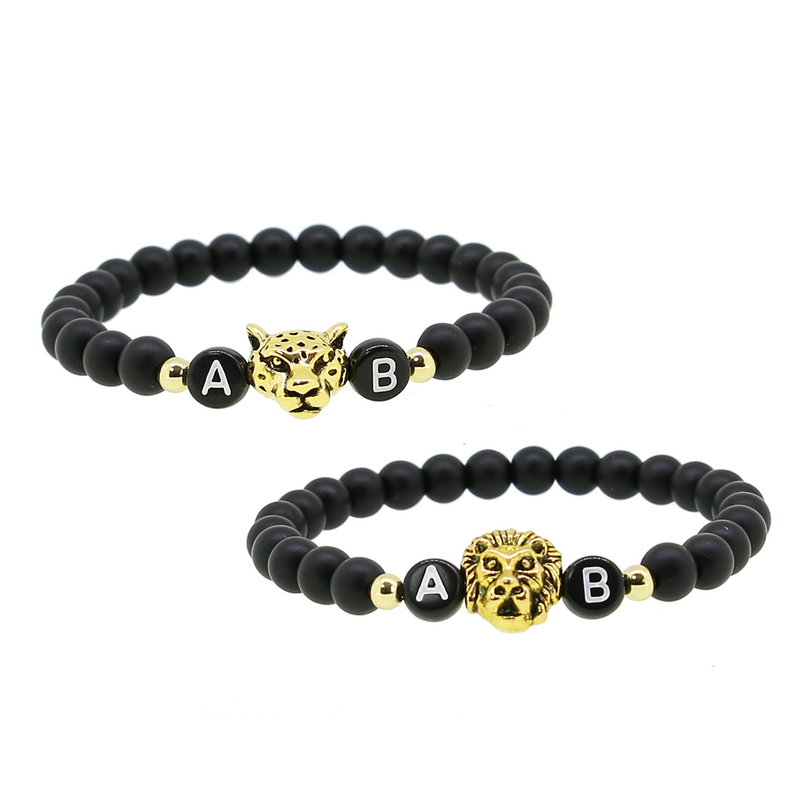 2 x Black Lion Gold Partnerarmband