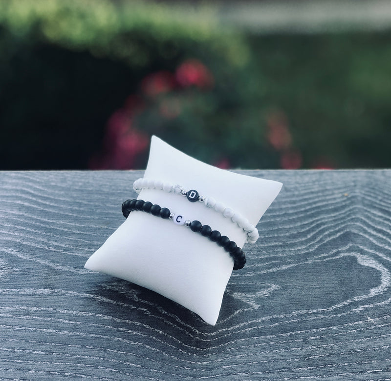 2 x Black White Partnerarmband