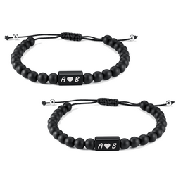 2 x Gravur Partnerarmbänder Black Icon