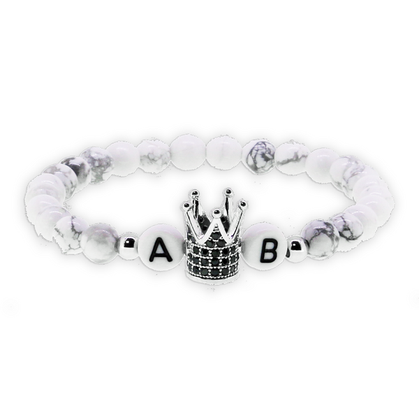 1 x White Crown Silver Armband