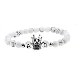 1 x White Crown Silver Metal Letter  Armband