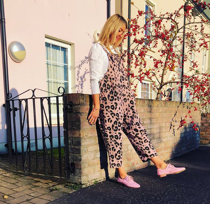 Pale Pink Leopard Jumping Jersey Dungarees