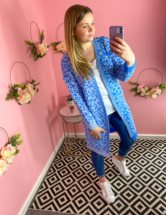 Royal Blue Leopard Longline Cardigan