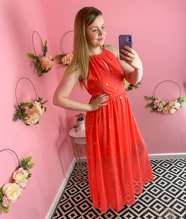 Coral & Gold Halter Neck Maxi Dress