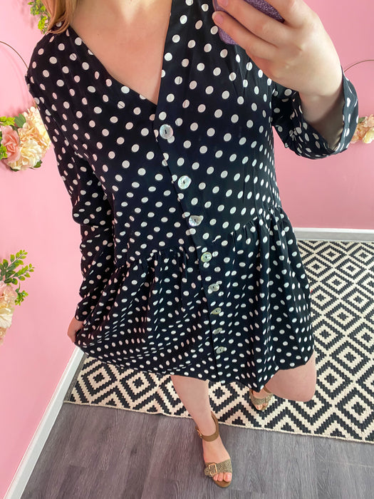 Mono Polka Dot Button Down Dress