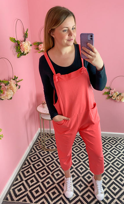 Plain Coral Jumping Jersey Dungarees