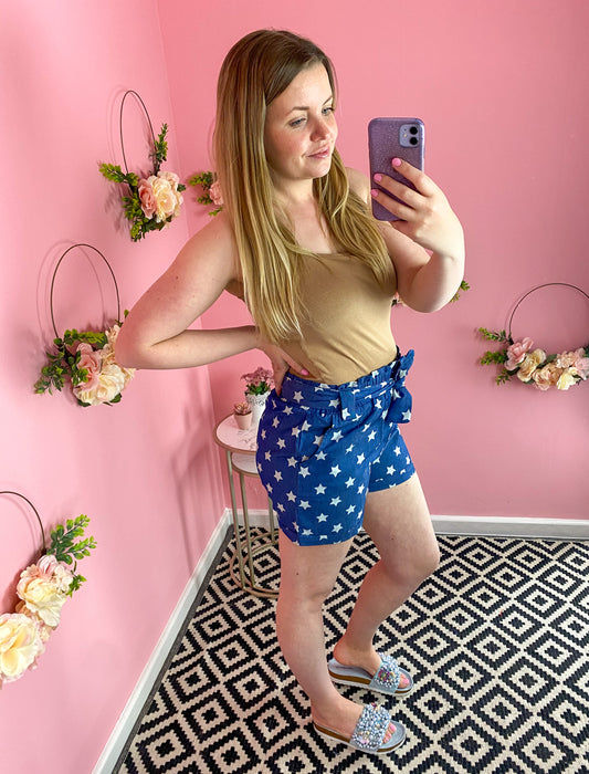 High Waisted Star Print Denim Shorts