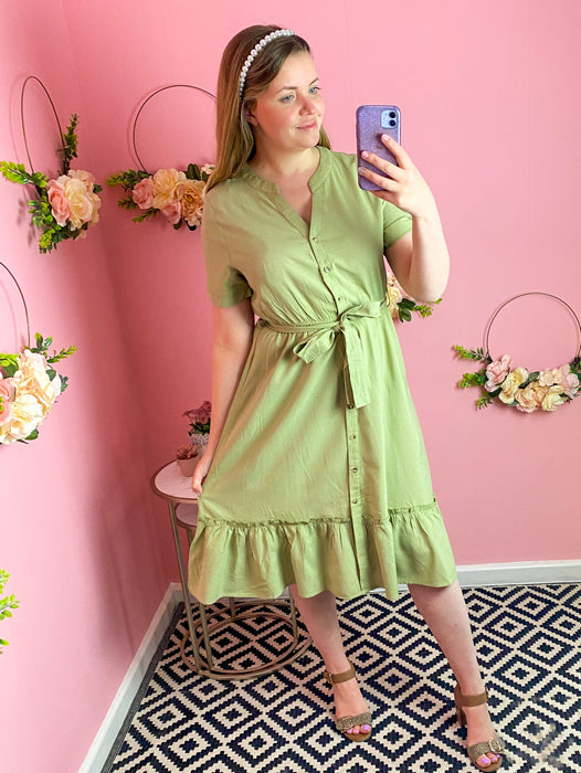 Olive Frill Hem Button Down Dress