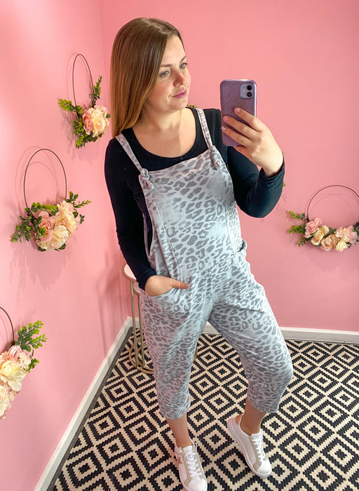 Grey Frosted Animal Print Dungarees