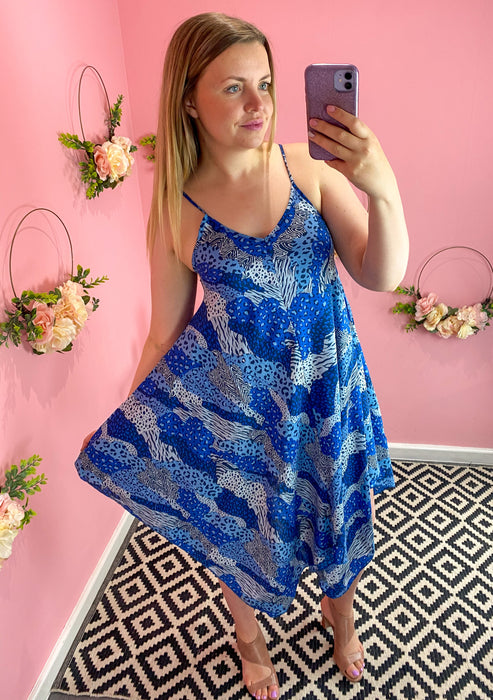 Blue Patchwork Print Hanky Dress